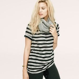Lou and Grey Striped Short Sleeve Sweater w/ tie